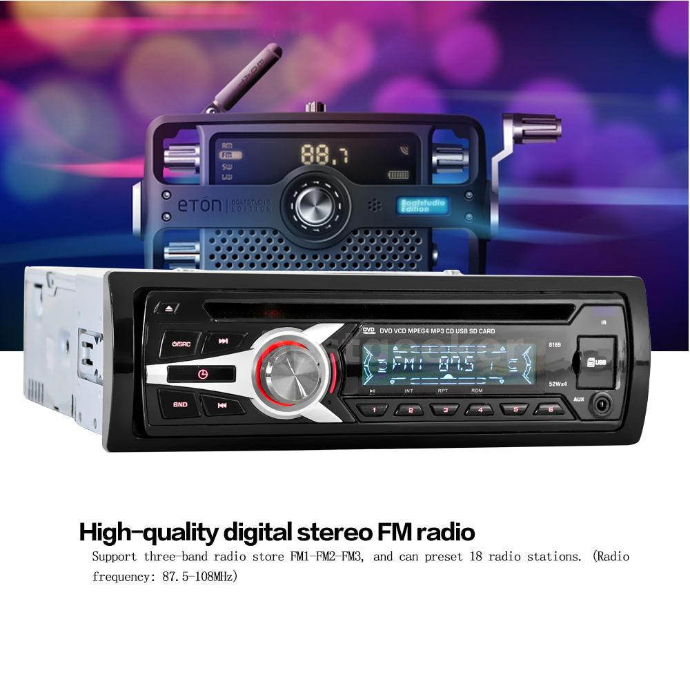 universal car stereo radio audio cd dvd mp3 player with fm. Black Bedroom Furniture Sets. Home Design Ideas